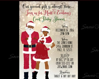 Holiday Christmas Couples Baby Shower Invitations - Snowflake Santa Mrs. Claus Pregnancy Couples Coed Shower Gold Blue African American AA