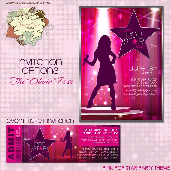 Pop Star Party Invitation DIY Printable