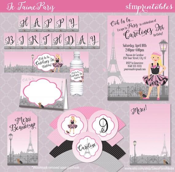 Paris Theme Birthday Invitation Party Bundle Parisian Invitation Party Eiffel Tower Pink Character Pink Black