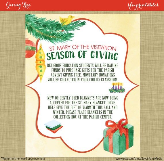 giving tree season of giving angel tree flyer invitation etsy