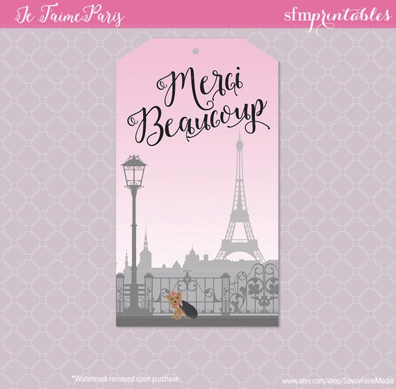 Paris Themed Party Favor Tag Birthday Parisian Invitation Favors