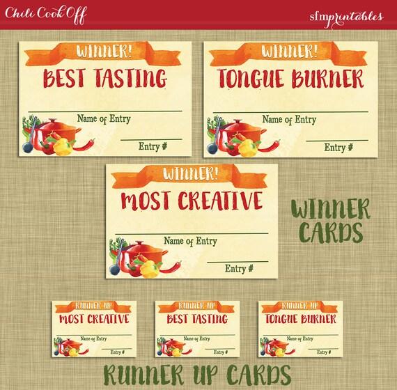 Instant Download! Chili Cookoff Winner Badges Labels