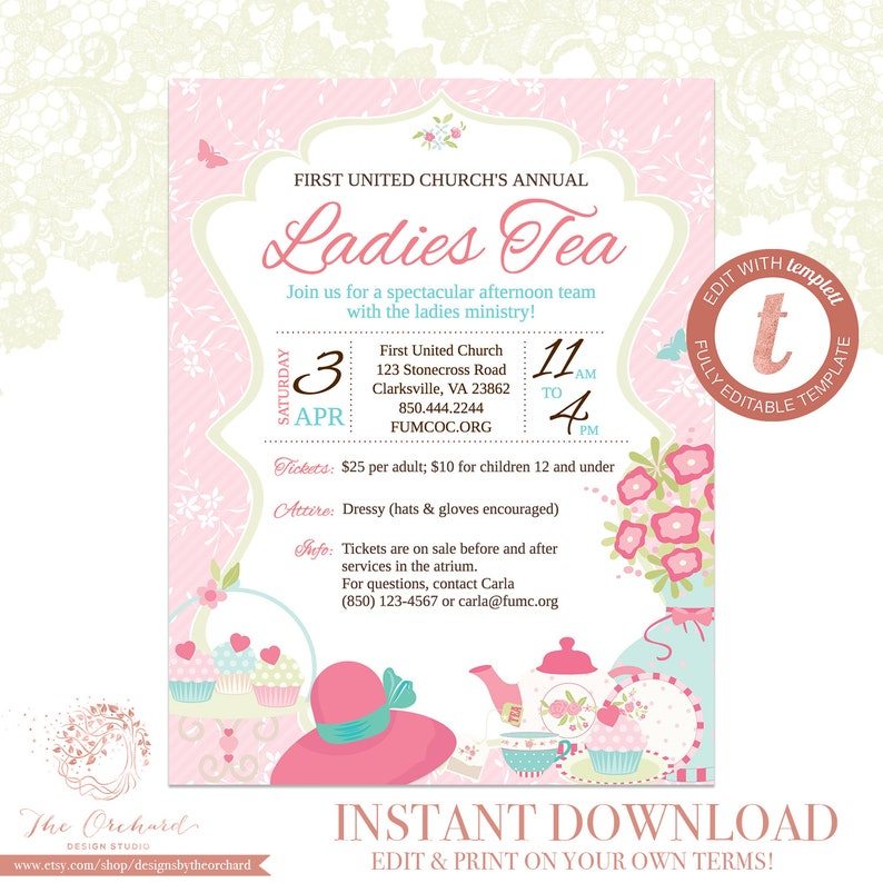 High Tea Flyer Invitation Template Church School Community Fundraiser Brunch Womens Ministry Bridal Hat Teacup Mothers Day