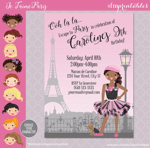 Paris Themed Party Invitation Birthday Parisian Themed Ooh Etsy