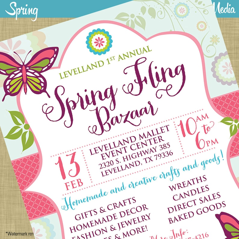 Spring Fling Craft Bazaar Fair Market Expo Invitation Poster Etsy