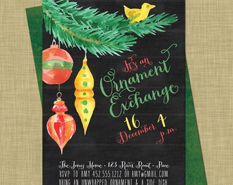 Holiday Ornament Exchange Invitation // Christmas White Elephant Party // Modern Holiday Swap // Modern Chalkboard // Bright Gifts Ornaments