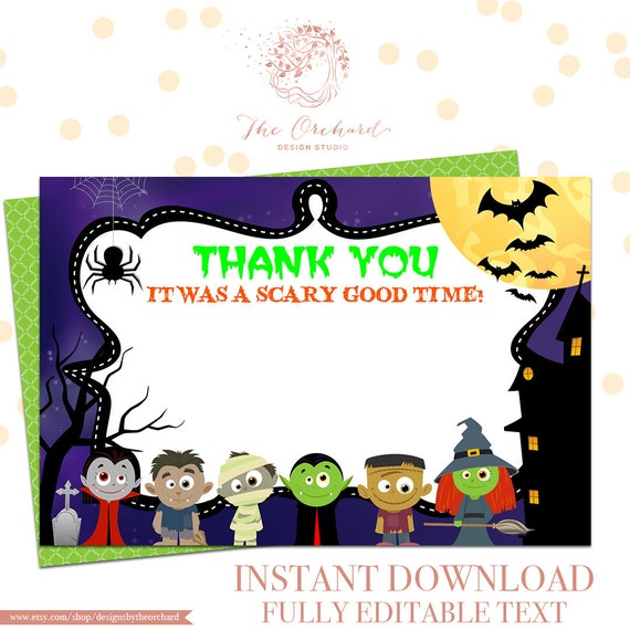 Halloween Party Thank You Card Editable Instant Download Etsy