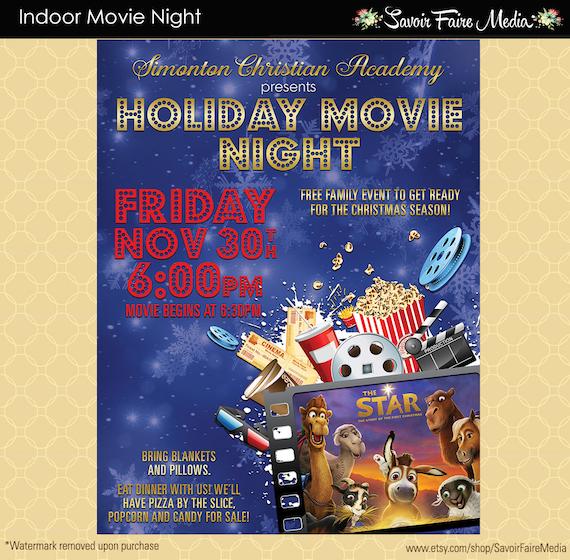 Holiday Movie Night Flyer Christmas Movie Template Church School Community Lawn Cinema Flyer Invitation Fundraiser Poster Winter Movie