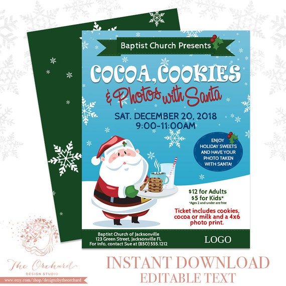 Cookies And Cocoa With Santa Flyer Instant Download Photos With Santa Clause Template Church School Christmas Holiday Templett Invitation