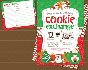 Christmas Cookie Swap Exchange Invitation and Cookie Recipe Card // Cookie Swap Invite // Cookie Exchange Recipe Card //  Christmas Party