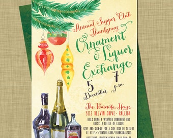 Holiday Liquor Exchange Invitation // Christmas Ornament Exchange Party // Modern Holiday Swap // White Envelope // Booze Gifts Ornaments