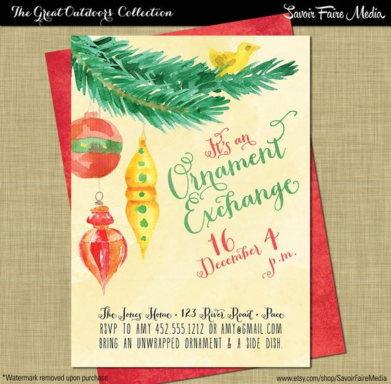 christmas ornament exchange invitation christmas white etsy