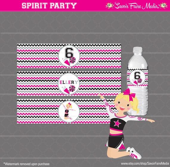 cheerleader party supplies Cheerleader water label cheers cheerleader birthday party cheerleaders water label cheerleading water label