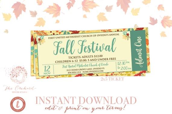 Fall Turkey Dinner Event Ticket Harvest Thanksgiving Invitation Poster Pumpkin Template Church School Community Flyer Fundraiser Autumn