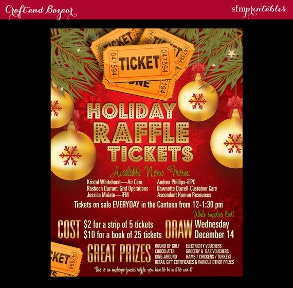 Christmas Raffle Tickets 50 50 Flyer Holiday Seasonal Raffle Etsy