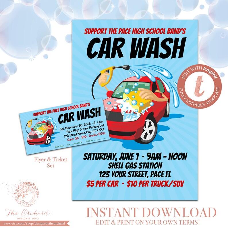 Car Wash Flyer And Ticket Set Fundraiser Church School Etsy