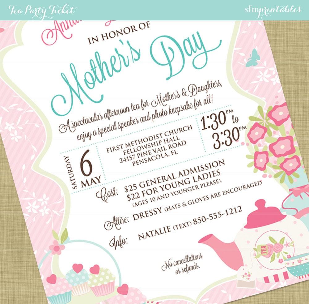Women's Tea Flyer Invitation Postcard Poster Template