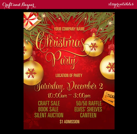 Christmas Party Flyer.Christmas Party Flyer Company Corporate Holiday Celebration Seasonal Raffle Event Invitation Poster Template Community Poster Gift