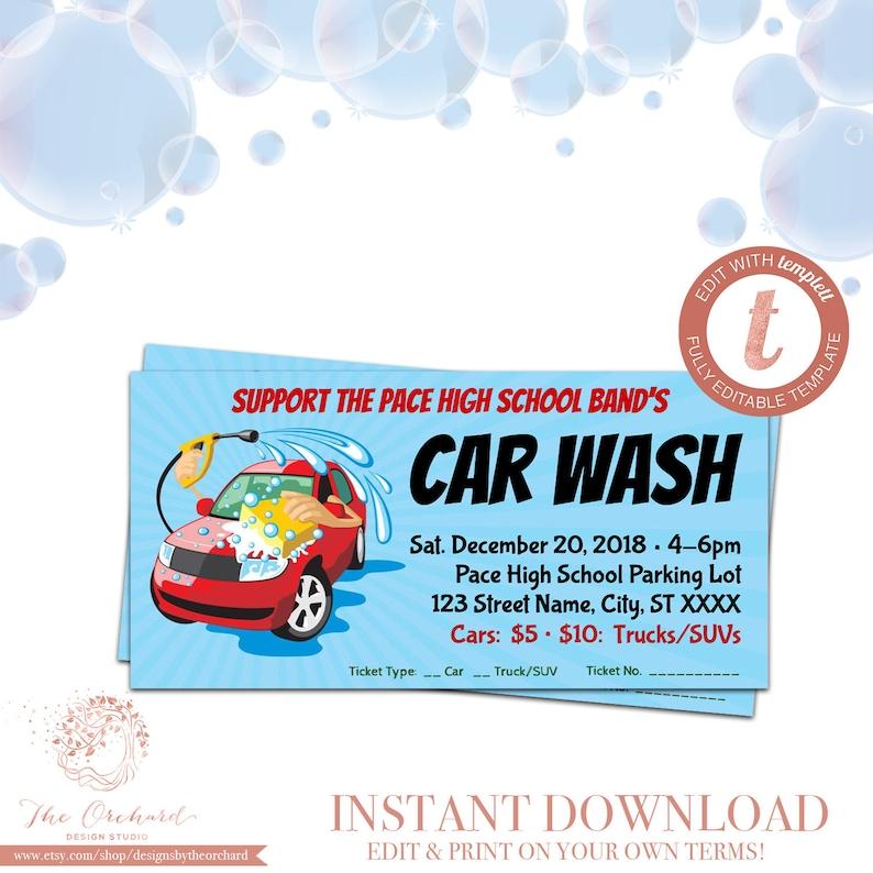 Car Wash Ticket Fundraiser Church School Community Sports Etsy