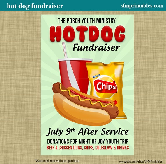 Hot Dog Fundraiser Dinner Bbq Invitation Poster Spring Template Church Youth Group School Community Goods Sale Flyer Fundraiser Poster