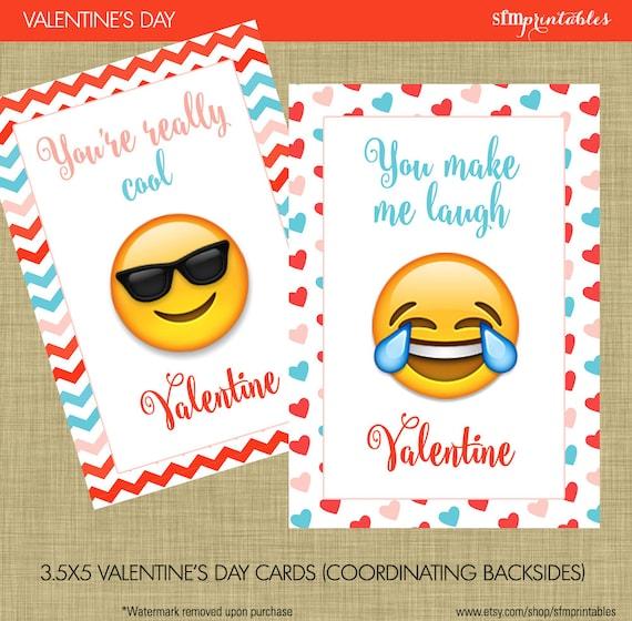 Emoji Valentine S Day Cards Instant Download Kids Etsy