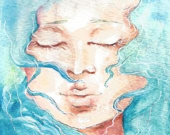 floating. | watercolor archival print + matte