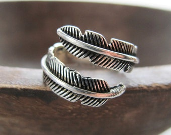 Boho Feather Ring-Boho Jewelry Rings- Sterling Silver-Silver Feather Ring-Gifts Under 20-Bohemian Rings-Gifts for Women-Gift for Her