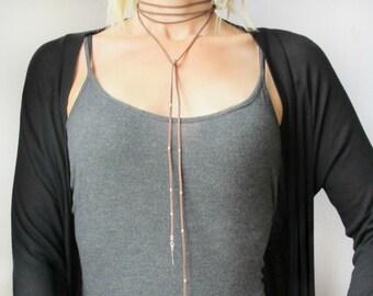 Leather Wrap Necklace-Leather Wrap Choker-Boho Jewelry Choker-Leather Wrap Chokers for Women-Layered Choker Necklace-Boho Wrap Choker