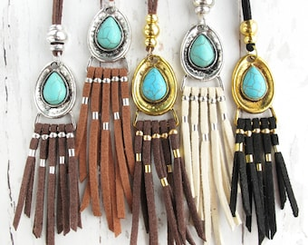 Boho Necklace Tassel-Tassel Necklace Leather-Tribal Necklace Women-Long Tassel Necklace-Tassel Necklace Turquoise-Long Fringe Necklace
