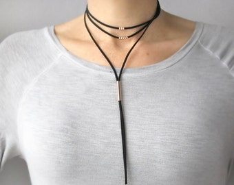 Leather Choker Necklace-Choker Necklace for Her-Layered Choker Necklace-Leather Wrap Choker-Leather Lariat Necklace-Leather Wrap Choker