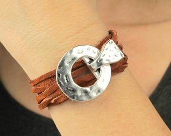 Womens Leather Wrap Bracelet-Leather Wrap Bracelet for Women-Leather Bracelet with Silver-Boho Leather Wrap Bracelet-Boho Leather Bracelet