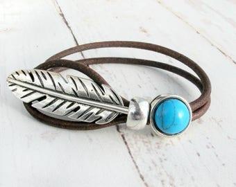 Silver Feather Bracelet-Leather Bracelet for Women-Boho Bracelet Leather-Boho Bracelet Cuff-Boho Bracelet Turquoise-Leather Cuff Bracelets