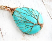 Wire Wrapped Jewelry-Turquoise Pendant-Wire Wrapped Tree of Life Pendant-Gift for Mom-Tree of Life Necklace-Turquoise Pendant Necklace