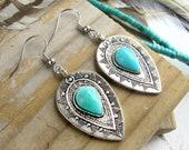 Boho Chic Earrings-Bohemian Turquoise and Silver Earrings-Boho Earrings Turquoise-Gifts for Her-Women 39 s Dangle Earrings-Hippie Earrings