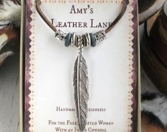Boho Feather Jewelry-Feather Jewelry Women-Boho Jewelry Silver-Long Feather Necklace-Silver Feather Necklace-Leather Necklaces for Women