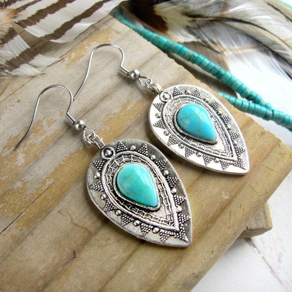 boho hippie boho gypsy chic boho chic colorful earrings boho gypsy Mexicali boho fashion earrings gypsy boho Turquoise earrings