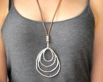 Long Necklaces with Pendant-Silver Rings Necklace-Boho Necklace Long-Long Leather Necklace-Long Necklaces for Women-Boho Necklace Leather-