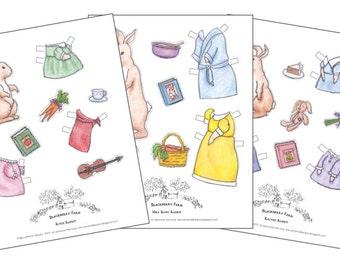 Rabbit Paper Dolls - Dress Up Doll - Blackberry Farm