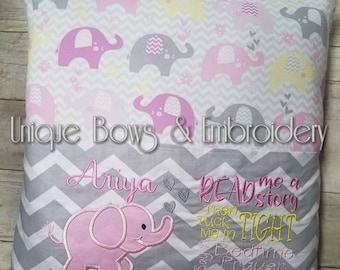 Pillow book ~ customized book pillow ~ baby elephant pillow~ elephant pillow