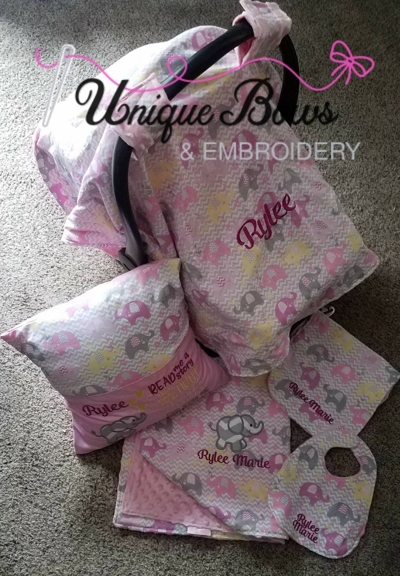 283595dfd278e personalized baby gifts for girl, elephant baby shower gift girl, car seat  cover girl, minky baby blanket girl, reading pillow, elephant bib
