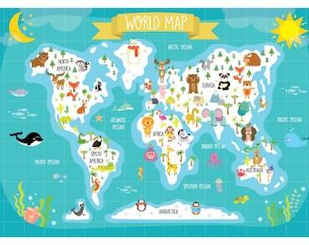 Nursery printable animal world map kids world map poster etsy nursery printable animal world map kids world map poster digital print kids map art instant download gumiabroncs Images