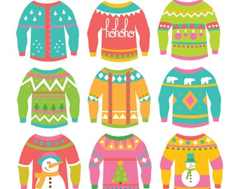 Christmas Ugly Sweaters - Clipart & Vector Set - Instant Download - Personal and Commercial Use