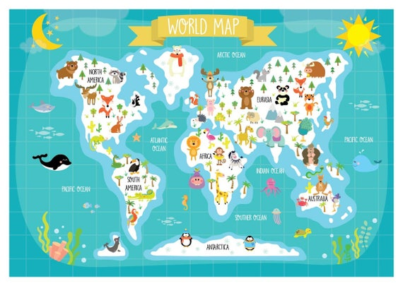 Nursery Printable Animal World Map Kids World Map Poster | Etsy