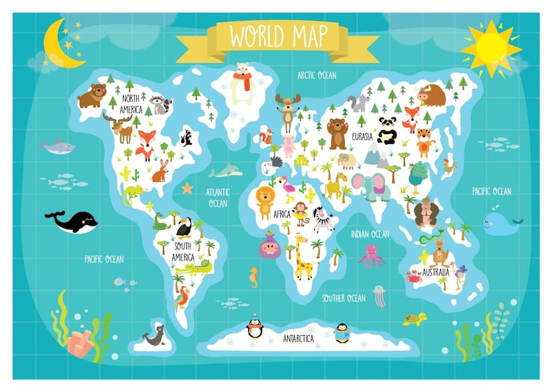 Nursery Printable - Animal World Map - Kids World Map - Poster Digital on