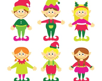 Christmas Elves - Clipart & Vector Set - Instant Download - Personal and Commercial Use