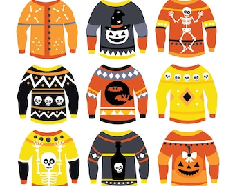 Halloween Ugly Sweaters - Clipart & Vector Set - Instant Download - Personal and Commercial Use