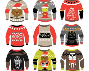 Star Wars - Christmas Ugly Sweaters - Clipart & Vector Set - Instant Download - Personal and Commercial Use
