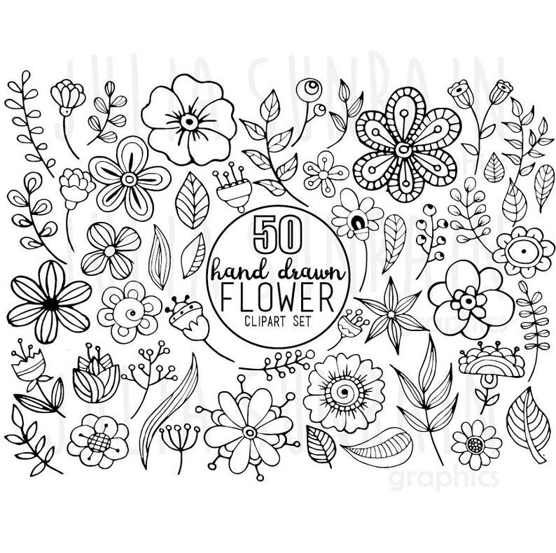 Flower Doodle Clipart Vector Set Digital Stamp Instant