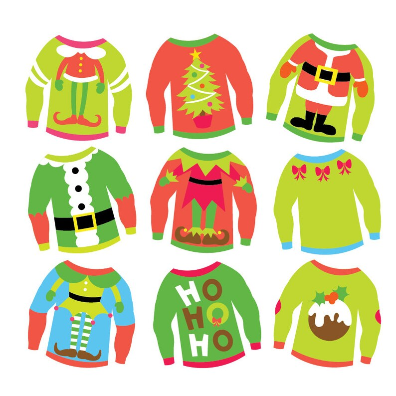 9b2ef76758 Christmas Ugly Sweaters Clipart   Vector Set Instant