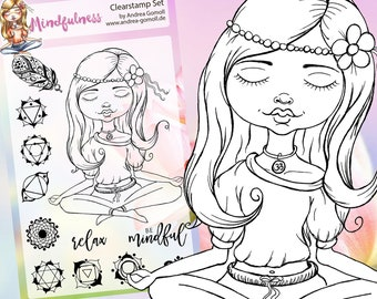 "Clear Stamp Set ""Mindfulness"" Chakra, Yoga - perfect to use in your Planners, Happymail, Cardmaking, Pocketletters etc."